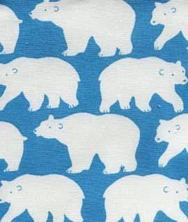 Cotton Canvas Polar Bears In Blue